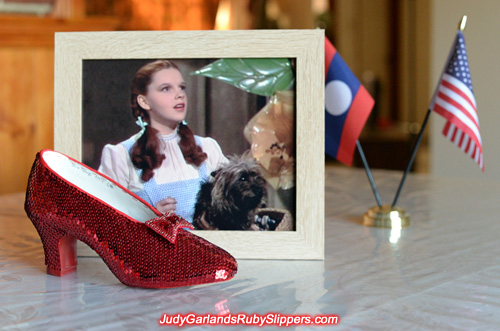The right shoe of Judy Garland's ruby slippers is done