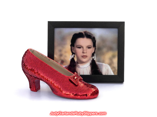 The right shoe of Judy Garland's ruby slippers is fully covered with sequins