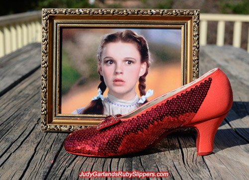 The right shoe of Judy Garland's ruby slippers is slowly taking shape