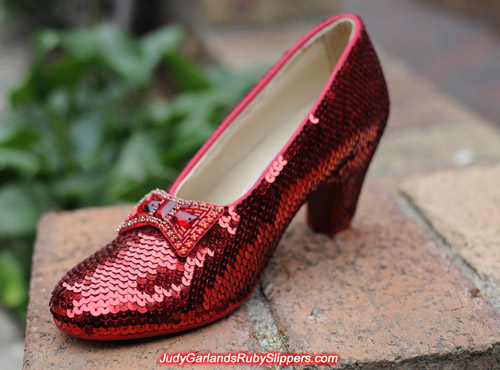 The ruby slippers is half way finished with the right shoe done