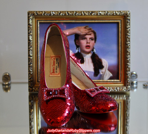 The ruby slippers near identical to the originals as worn by Judy Garland as Dorothy in 1939's The Wizard of Oz
