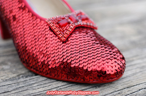 Unfinished right shoe of Judy Garland's ruby slippers
