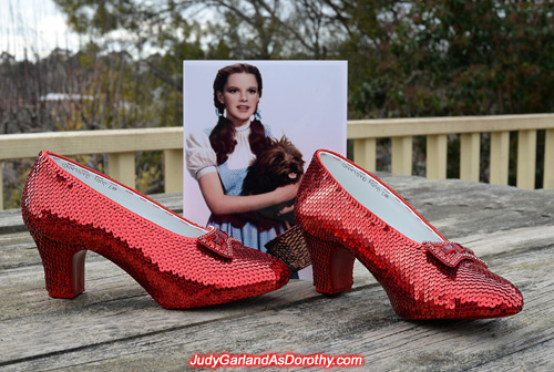 A masterpiece ruby slippers made by JudyGarlandsRubySlippers.com