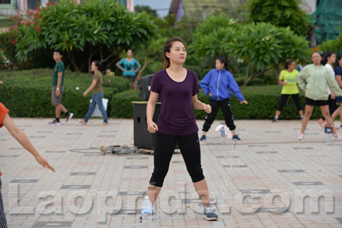 Aerobics on Mekong riverside in Vientiane, Laos