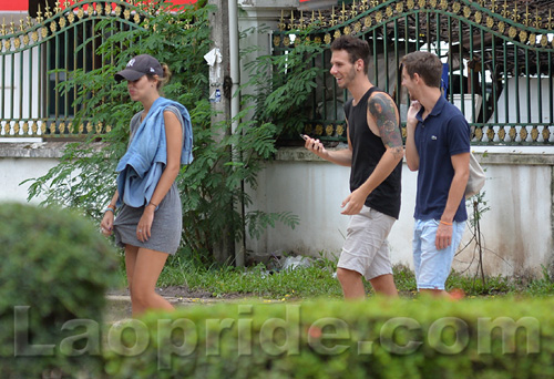 American tourists on Lane Xang Avenue in Vientiane, Laos