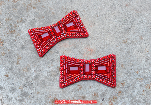 Another hand-sewn ruby slipper bows made in October, 2017