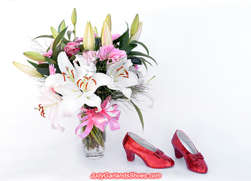 Beautiful flowers and a pair of hand-sewn ruby slippers