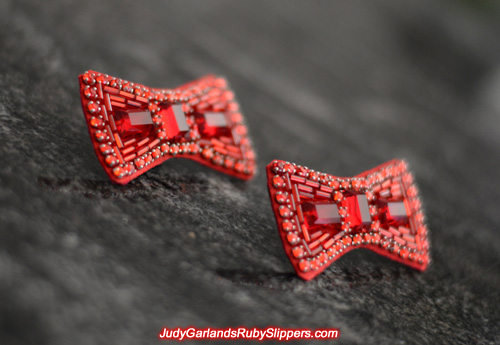 Beautiful pair of hand-sewn bows for the ruby slippers