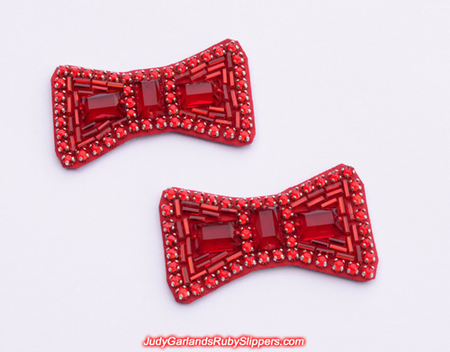Beautiful pair of hand-sewn ruby slipper bows