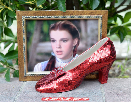 Beautiful right shoe of Judy Garland's ruby slippers