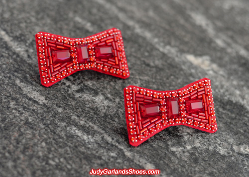 Breathtaking pair of hand-sewn ruby slipper bows