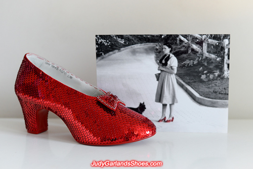 Completed right shoe of Judy Garland's ruby slippers