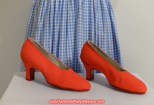 Custom-made size 5B shoes for the ruby slippers
