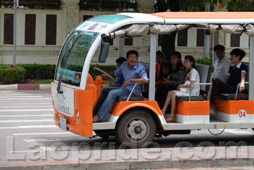 Electric powered bus in Vientiane, Laos