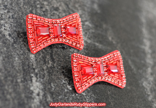 Exquisite hand-sewn ruby slipper bows