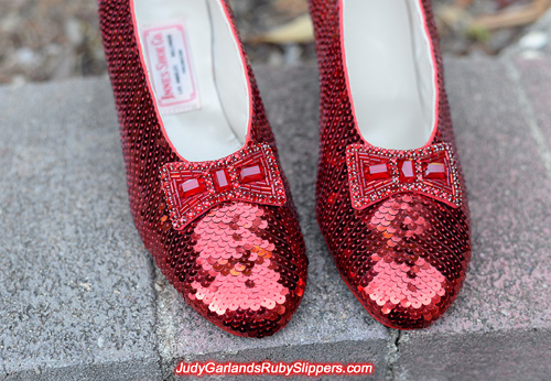 Exquisite hand-sewn ruby slippers