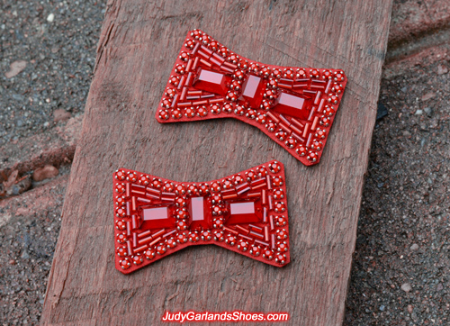 Hand-sewn ruby slipper bows for November 2017 project