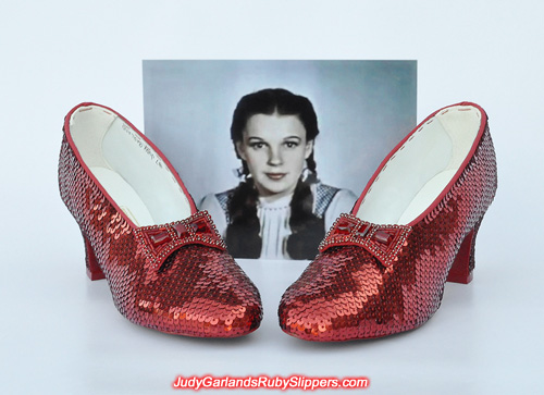 Hand-sewn ruby slippers as worn by Judy Garland as Dorothy