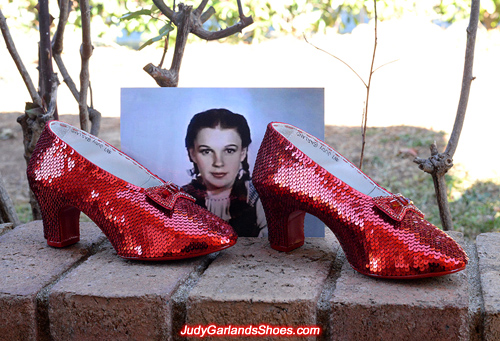 Hand-sewn ruby slippers crafted in July, 2017