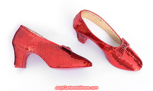 Hand-sewn ruby slippers in size 5B