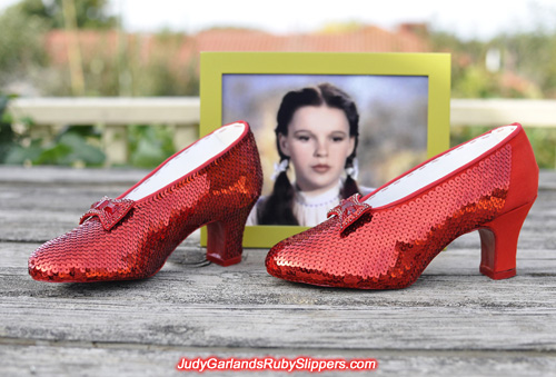Hand-sewn ruby slippers is beginning to take shape