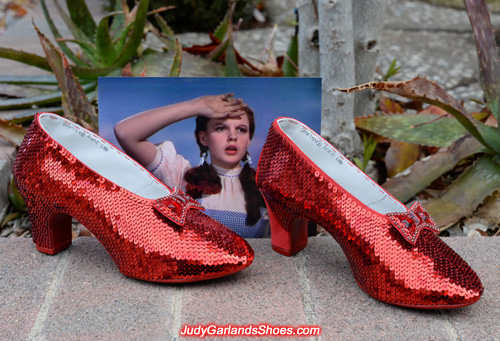 High quality hand-sewn ruby slippers is taking shape