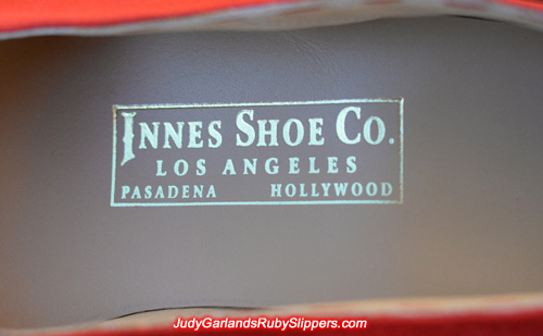 Innes Shoe Company emboss logo heat stamped in gold