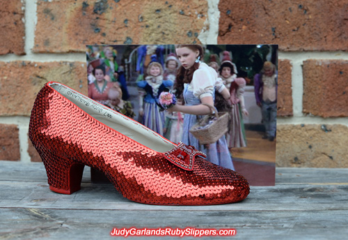Judy Garland's ruby slippers is half completed