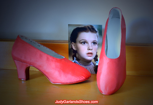 Judy Garland's size 5B leather and silk fabric overlay shoes