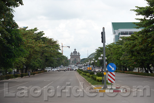 Lane Xang Avenue in Vientiane, Laos
