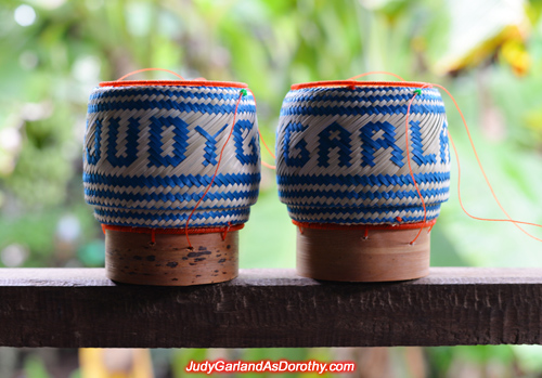 Lao bamboo sticky rice basket with writing ''Judy Garland''