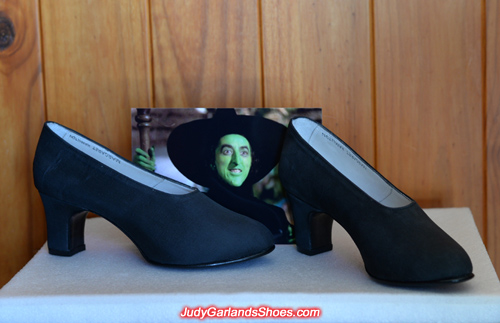 Margaret Hamilton's black silk wicked witch shoes