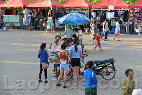 Mekong riverside night market in Vientiane, Laos