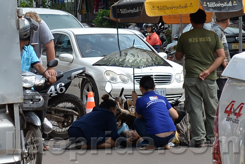 Motorbike accident in Dongpalane, Vientiane, Laos