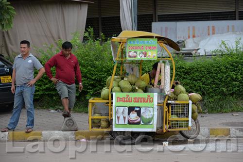 Motorbike street vendor in Vientiane, Laos
