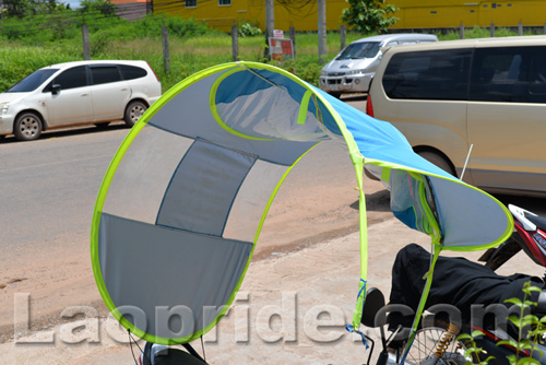 Motorbike sunshade and umbrella in Vientiane, Laos