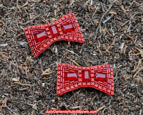 Pair of bows for Judy Garland's ruby slippers