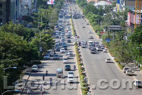 Pavement parking is causing a problem in Vientiane