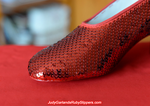 Perfect stitching on the right shoe of Judy Garland's ruby slippers