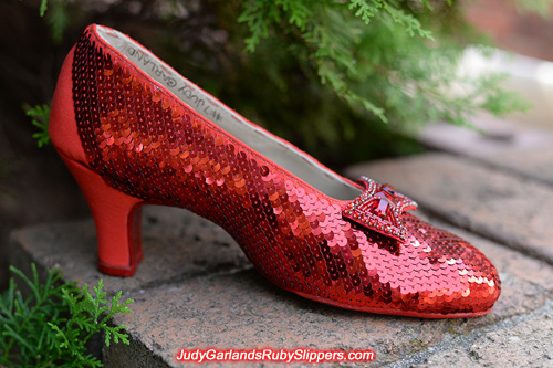 Sequining continues on Judy Garland's ruby slippers