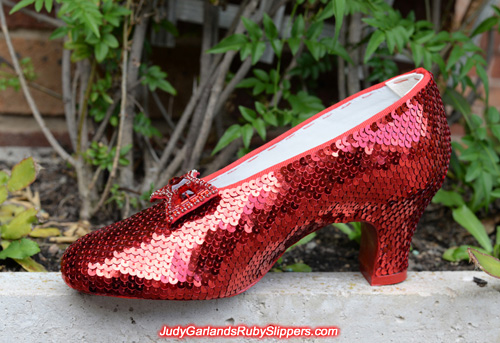 Sequining is finished with the right shoe