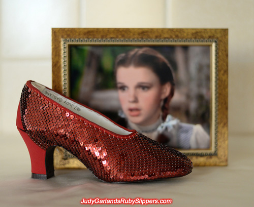 Sequining is in progress on the limited edition ruby slippers