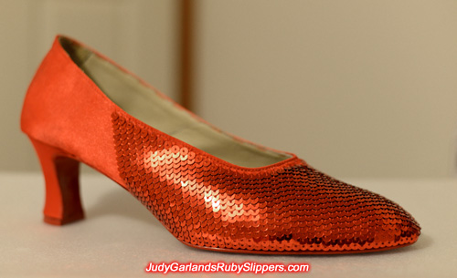Sequining is very exquisite on the right shoe