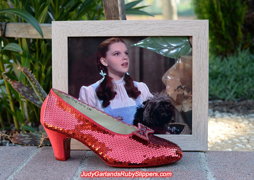 Sequining the right shoe for a size 8 ruby slippers