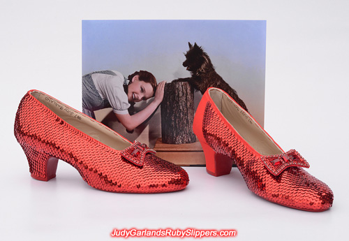 Sequining the left shoe of Judy Garland's ruby slippers