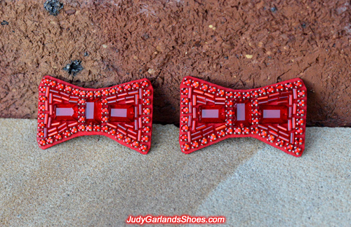 Stunning pair of hand-sewn ruby slipper bows