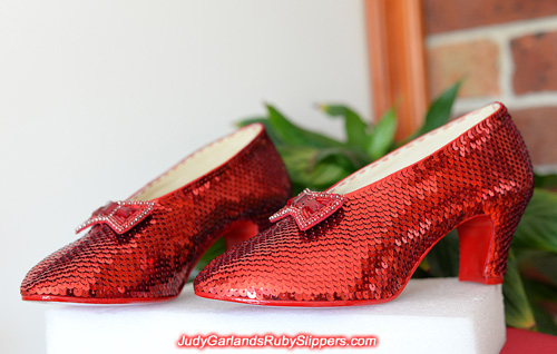 The finished product of a beautiful pair of ruby slippers