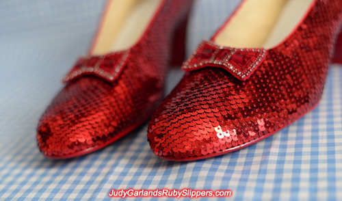 The finished product of a hand-sewn size 8 ruby slippers