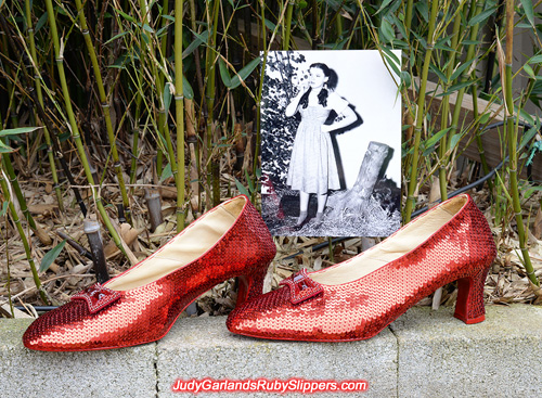The finished product of a size 10 hand-sewn ruby slippers