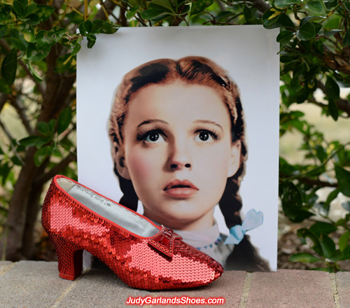 The finished right shoe of Judy Garland's ruby slippers